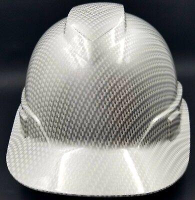 Hard Hat Custom Hydro Dipped Osha Approved White Metallic Carbon Fiber New