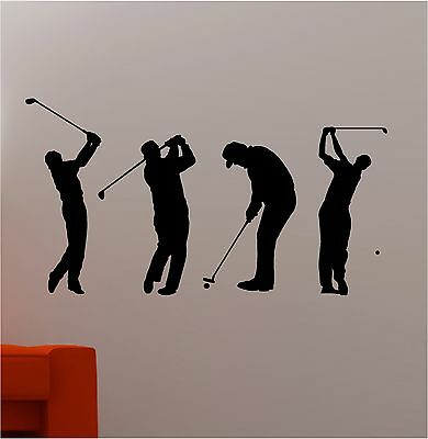 SET OF 4 GOLFERS wall art sticker vinyl CHILDRENS KIDS BEDROOM GOLF