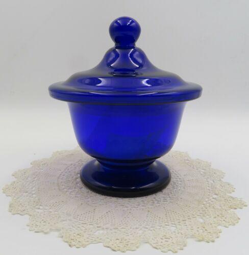 C 1865 HAND BLOWN LARGE LIDDED COBALT BLUE SUGAR BOWL