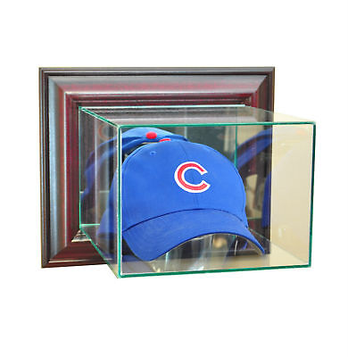 (WALL MOUNT GLASS CAP HAT DISPLAY CASE UV PROTECTION CHERRY WOOD MIRROR)