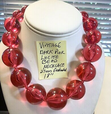"""60s -70s Jewelry – Necklaces, Earrings, Rings, Bracelets Vintage Dark Pink Lucite Bead Necklace 18"""" 27mm  Graduated  $35.00 AT vintagedancer.com"""