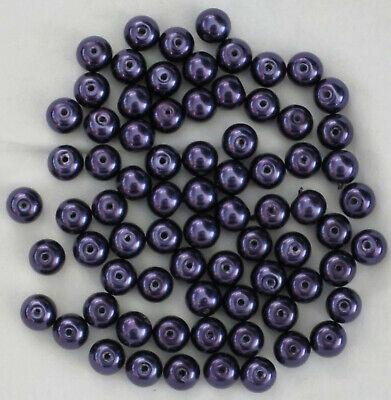 69 perles rondes en verre - 6 mm - violettes /mauve nacré - Loisirs créatifs