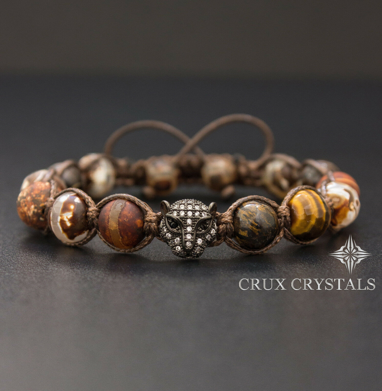 Men's Agate & Tigers Eye Shamballa Beaded Gemstone Macram...