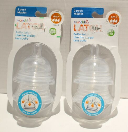 SEALED Munchkin Latch Replacement Bottle Nipples Stage 3 6m+ 2pks 4 Nipples