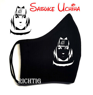 Mundschutz Sasuke Uchiha Logo 2 Schichten   Tragen Sie die blaue Schutzmaske