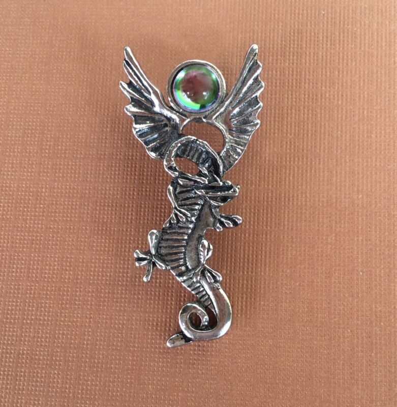 """VINTAGE SILVER TONE DRAGON PENDANT 2"""" LONG FANTASY MYTHICAL JEWELRY"""