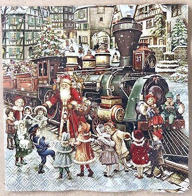 - Mesafina 40 Beverage Cocktail Paper Napkins Old World Santa Vintage Christmas