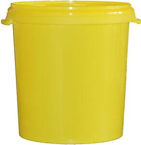 5 Stück 30 L Liter Eimer leer Leereimer gelb Hobbock Kunststoffeimer mit Deckel