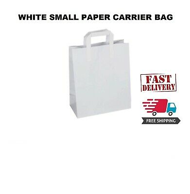 150 Premium Quality Small SOS Kraft Craft WHITE Paper Takeaway Food Carrier Bags