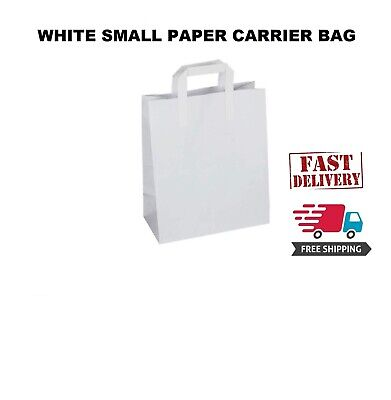 100 Premium Quality Small SOS Kraft Craft WHITE Paper Takeaway Food Carrier Bags