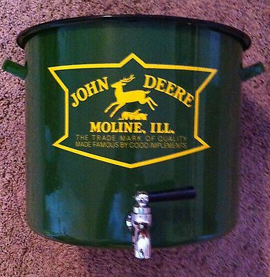 John Deere Moline ILL Metal beverage dispenser old logo, can container  (John Deere Container)