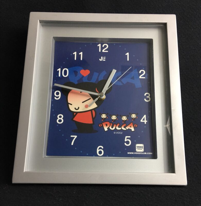 Pucca Vooz Club Square Wall Clock Quartz 9 x 10.5 Working Tested
