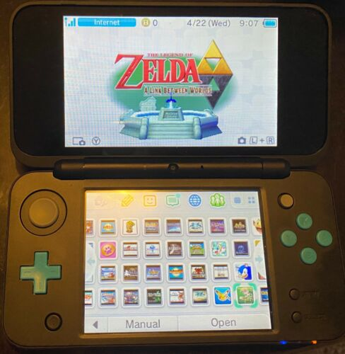 Nintendo 2DS XL Blue 175 Games Installed 3DS + SNES + GBA + GBC + GB