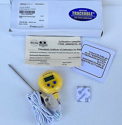 Fisherbrand 02-402-0 Traceable Water-proof Digital Thermometer Calibrated