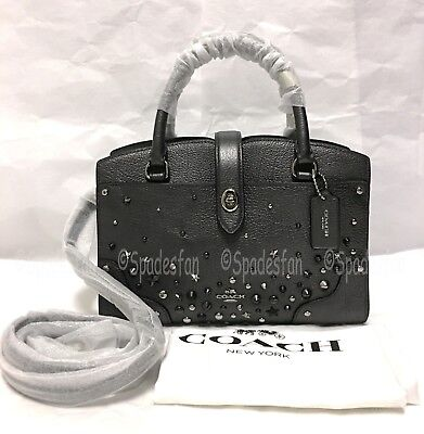 Coach 59146 Star Rivets Mercer 24 Leather Satchel Bag METALLIC GRAPHITE NWT