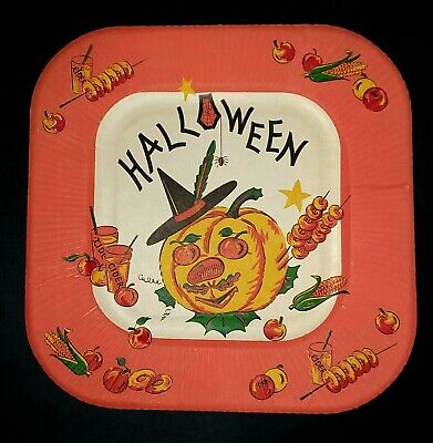 Vintage *UNUSED* Halloween Paper Plate: Witch, Fruit & Veggies, Cider, Spider