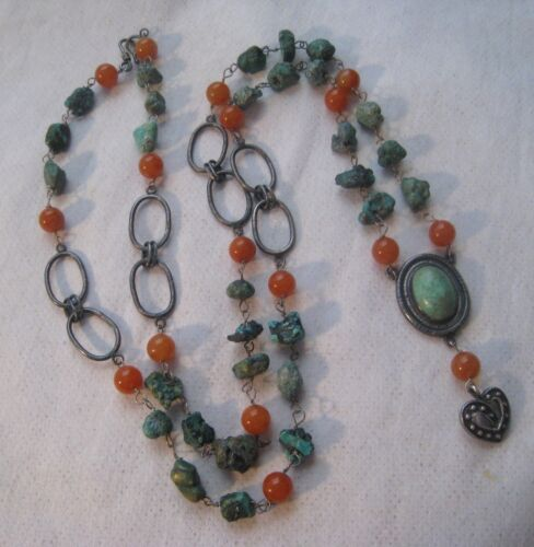 Vintage Chinese Natural Turquoise Carnelian Beads Sterling Pendant Necklace