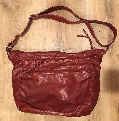 BUENO shoulder HandBag Purse Deep Red Faux Leather Vegan Zippers Galore. Nice! Deep Red Leather Handbag
