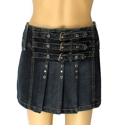 Morgan Denim Pleated Mini Skirt NWT Sz 36 Silver Metal Accents bought in France