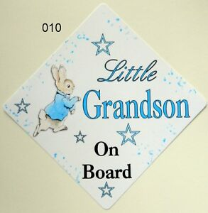 Handmade Non Personalised Little Grandson Baby on Board Car Sign