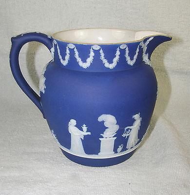 Antique 19thc Wedgwood England Only Dark Blue Jasperware Pitcher