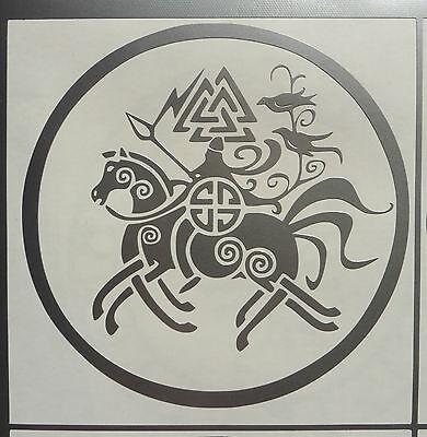 """Odin on Sleipnir"" gods myths magic stickers/car/van/window/decal 5150 Silver"