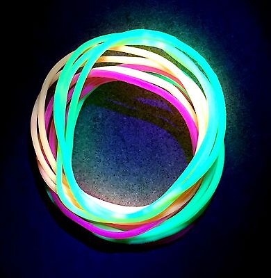 12 x Neon UV Gummy Bangles - Bands Jelly Bracelets 80s 80's Fancy Dress - Jelly Bracelets 80s