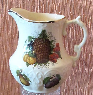 Henry's of Staffordshire Embossed 3/4 Pint jug with Transfer-printed Fruit.