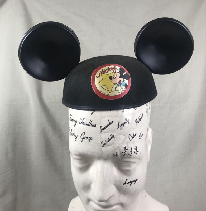 Mickey Mouse Ears Vintage Felt Cap Disney World Yellow Star Benay Hat Co.