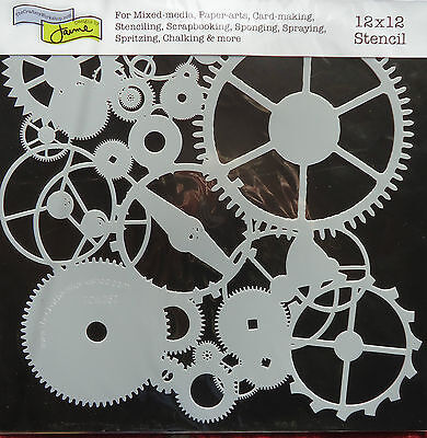 Stencil Gears 12x12 The Crafters Workshop template TCW262 craft cards spritz