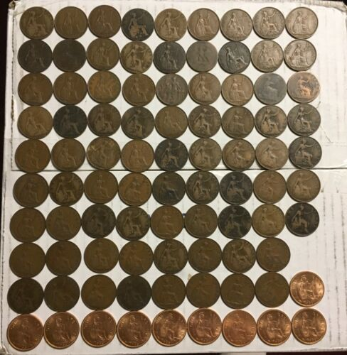89 Coin Lot Great Britain Bronze Pennies Large Cent Coins Assorted Dates & Grade