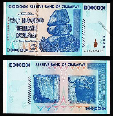100 Trillion Zimbabwe Dollars Bank Note AA 2008 UNC Uncirculated Authentic P91