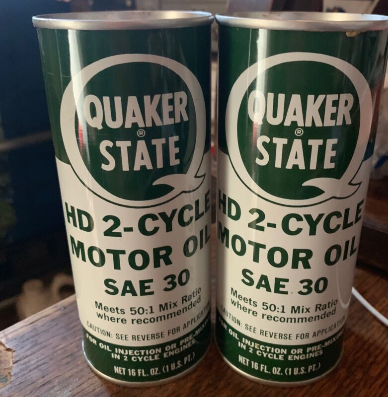 2 Cans Of Vintage Quaker State 2 Cycle Motor Oil HD SAE30 Full Pint