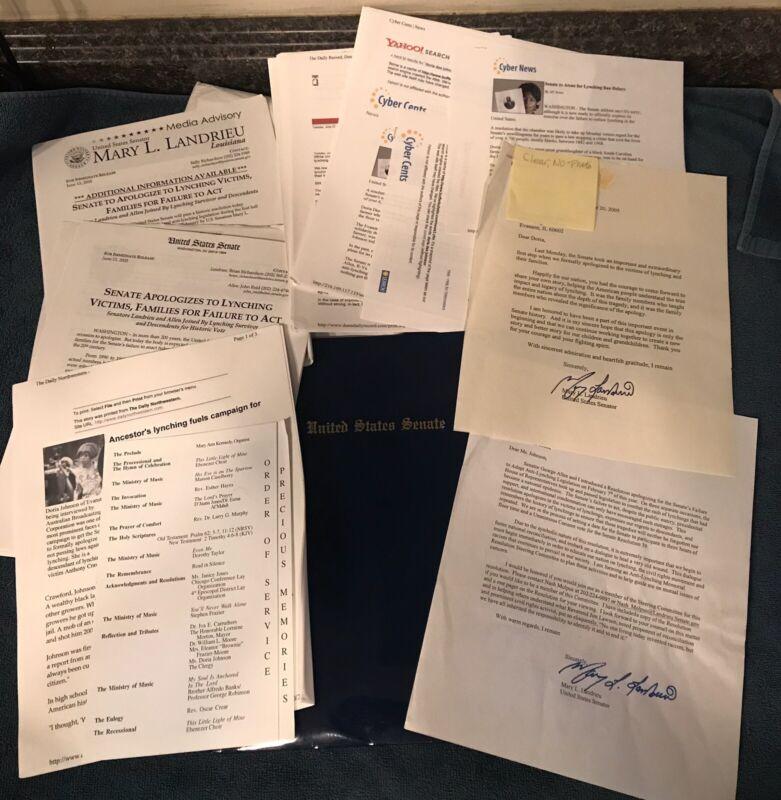 2005 Mary L Landrieu Signed Letters Anti-Lynching Senate Civil Rights Paperwork