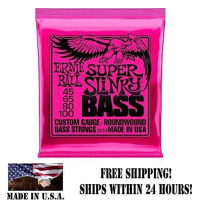 **ERNIE BALL SUPER SLINKY 45-100 ELECTRIC BASS GUITAR STRINGS 2834 (4-STRING)**