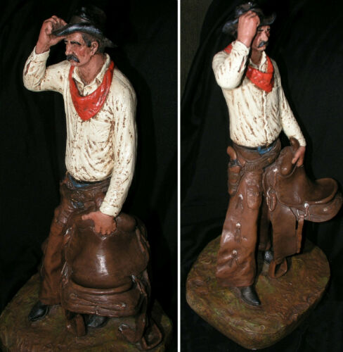Michael Garman Cowboy Saddle Tramp Vtg Figurine 1972 Hand Painted Signed 22 In