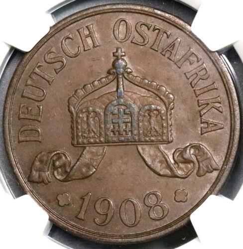 1908-J NGC AU 55 German East Africa 5 Heller Colony Large Coin (18100203CZ)