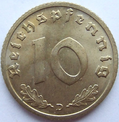 TOP! 10 Pf 1938 D in fast STEMPELGLANZ !!!