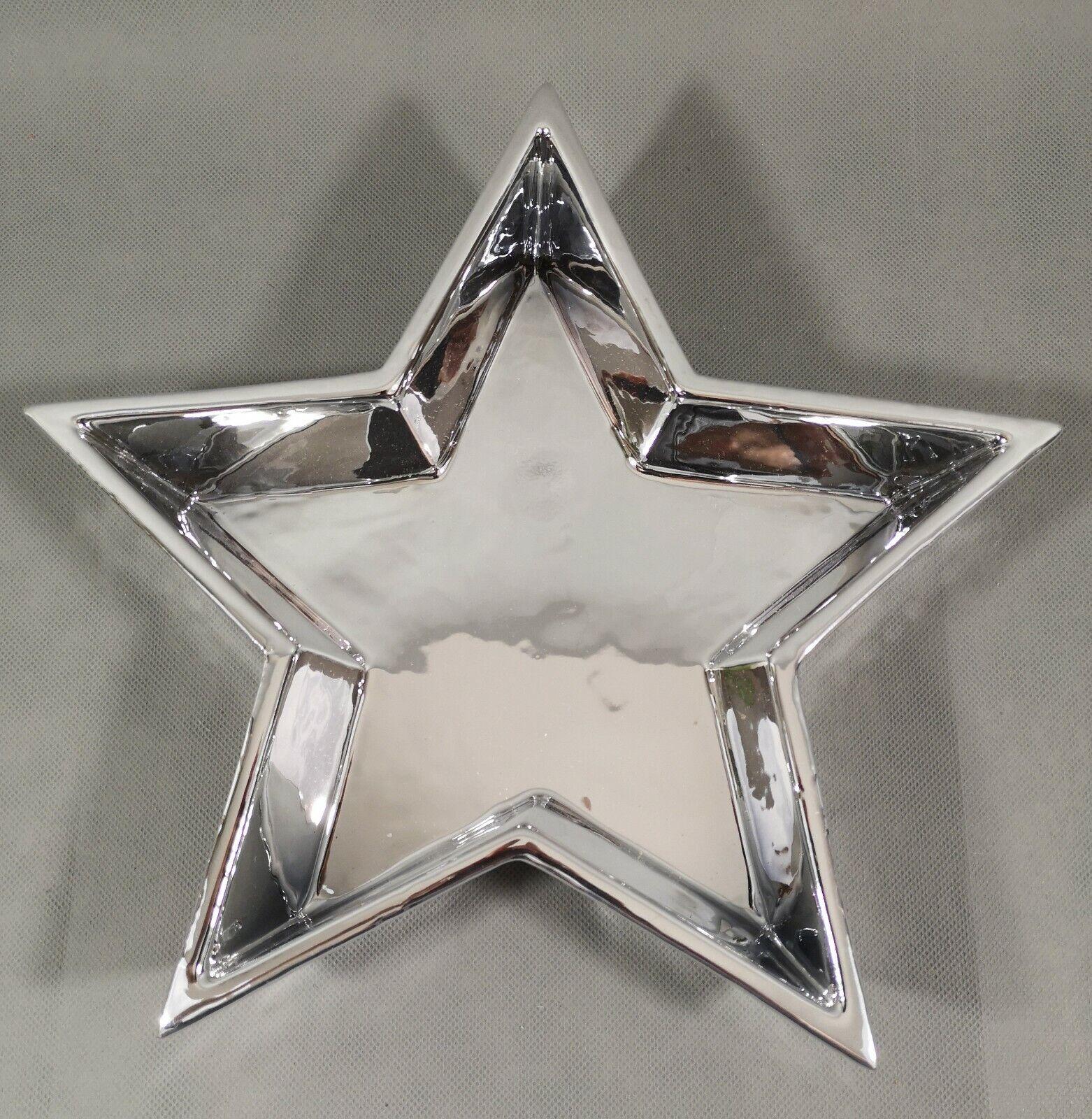 Teller Stern Silber Keramik NEU 27 x 27 x 5 cm