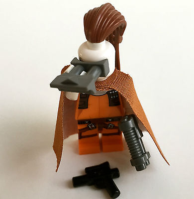 LEGO Star Wars Figur Aurra Sing + Custom Robe / Cape in dark orange