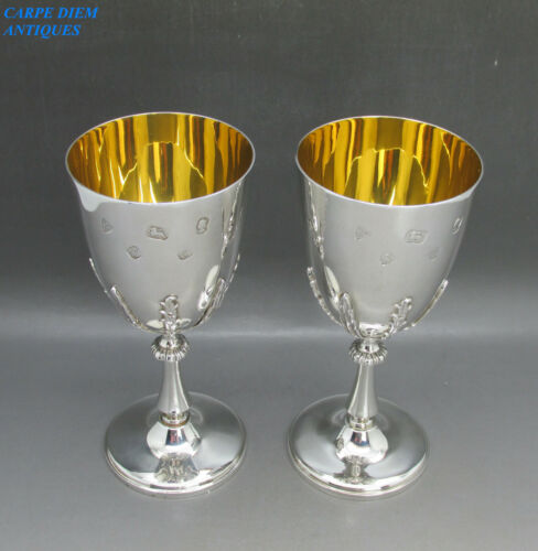 LUXURY PAIR SOLID STERLING SILVER JUBILEE GOBLETS 412g 15CM HIGH SHEFFIELD 1977