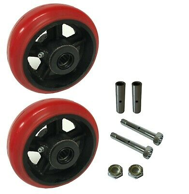 2 Caster Wheels Set 4 5 6 8 Polyurethane On Cast Iron Wheel Set Round