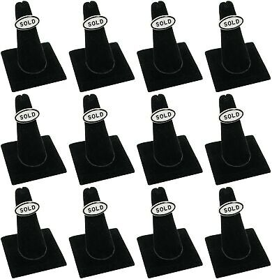 Lot 12 Black Velvet Square Base Finger Ring Stand Jewelry Display