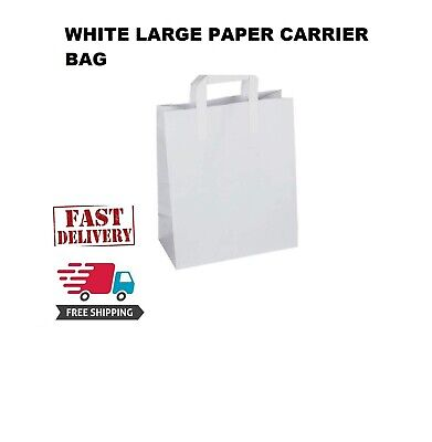 250Premium Quality LARGE SOS Kraft Craft WHITE Paper Takeaway Food Carrier Bags