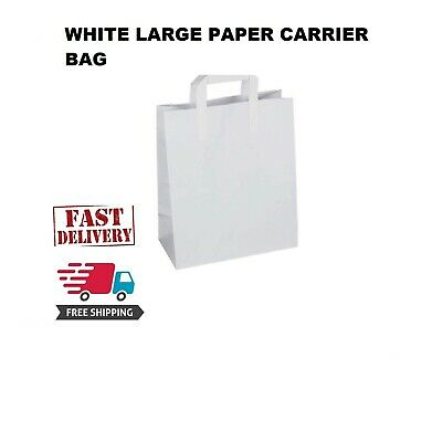 100 Premium Quality LARGE SOS Kraft Craft WHITE Paper Takeaway Food Carrier Bags