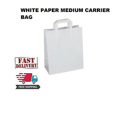 150Premium Quality MEDIUM SOS Kraft Craft WHITE Paper Takeaway Food Carrier Bags