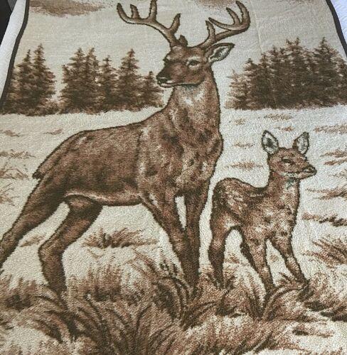 Ibena Plush Deer Buck Fawn Blanket Throw 70 x 54 Vintage Reversible