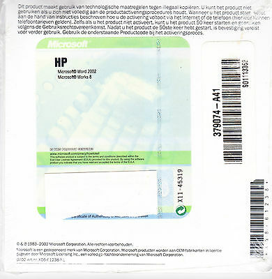MICROSOFT WORD 2002 + MICROSOFT WORKS 8  NEERLANDAIS   NEUF  HP