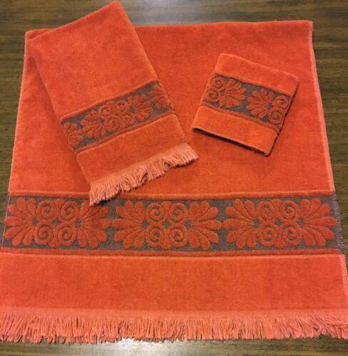 Vtg Cannon Monticello Orange Sculpted Bath Towel Set 3 Pcs MCM Shell Santa Cruz
