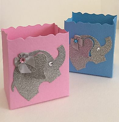 Baby Shower Gender Reveal Or Boy/Girl Twins Favor Boxes, Elephants, Pink,Blue,10](Gender Reveal Boxes)